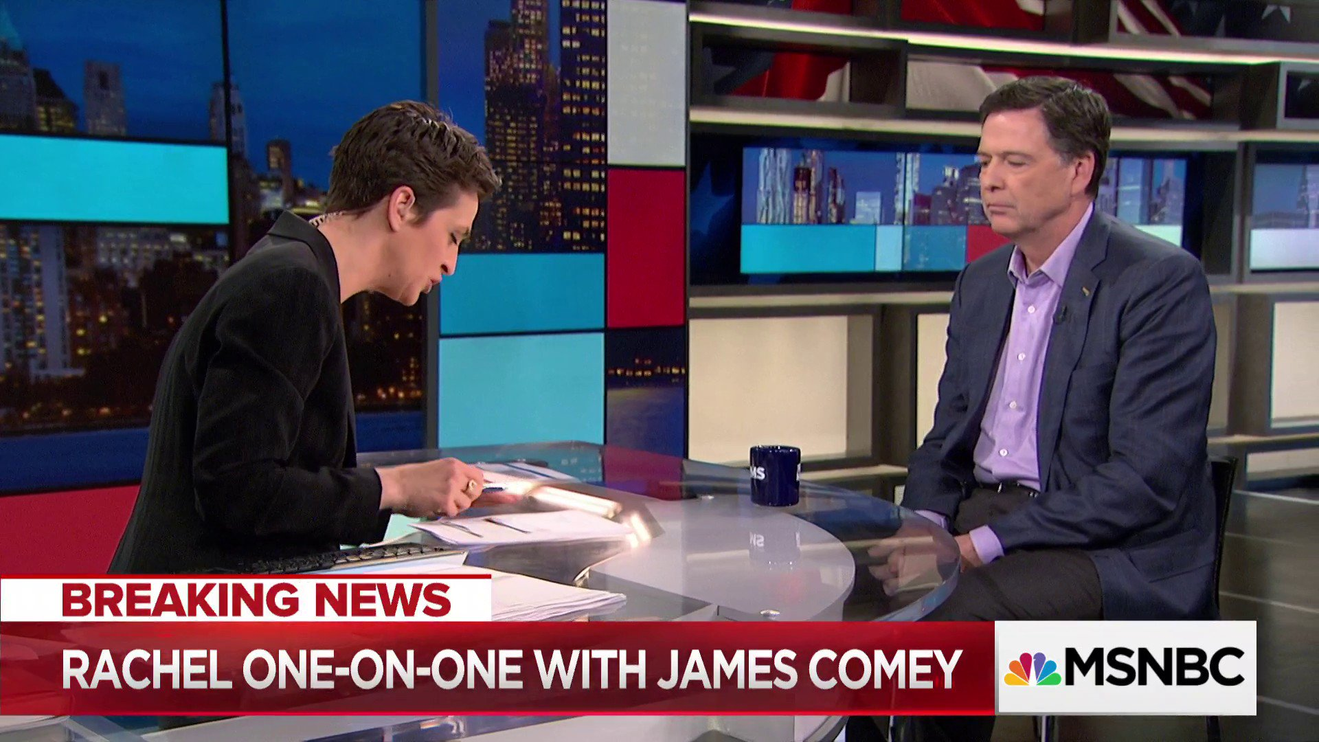 James Comey joins @Maddow LIVE in studio now, only on @MSNBC https://t.co/qJTUiaLH7p