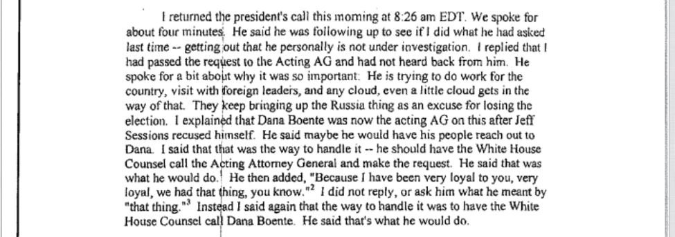Comey on April phone call, said Trump was pressing him to get out 'that he is personally not under investigation'