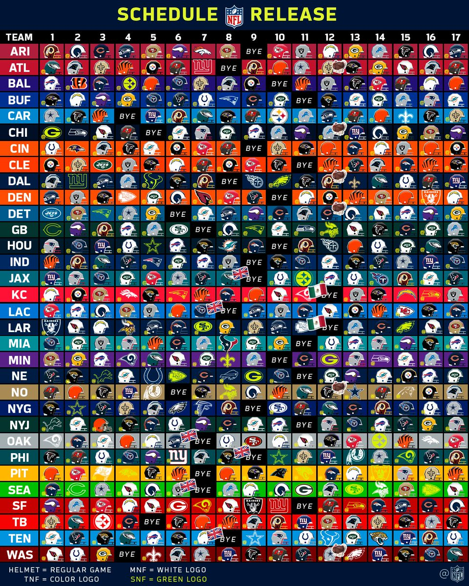"""All Team Of The Seasons: NFL On Twitter: """"Every Game In The 2018 NFL Regular Season"""
