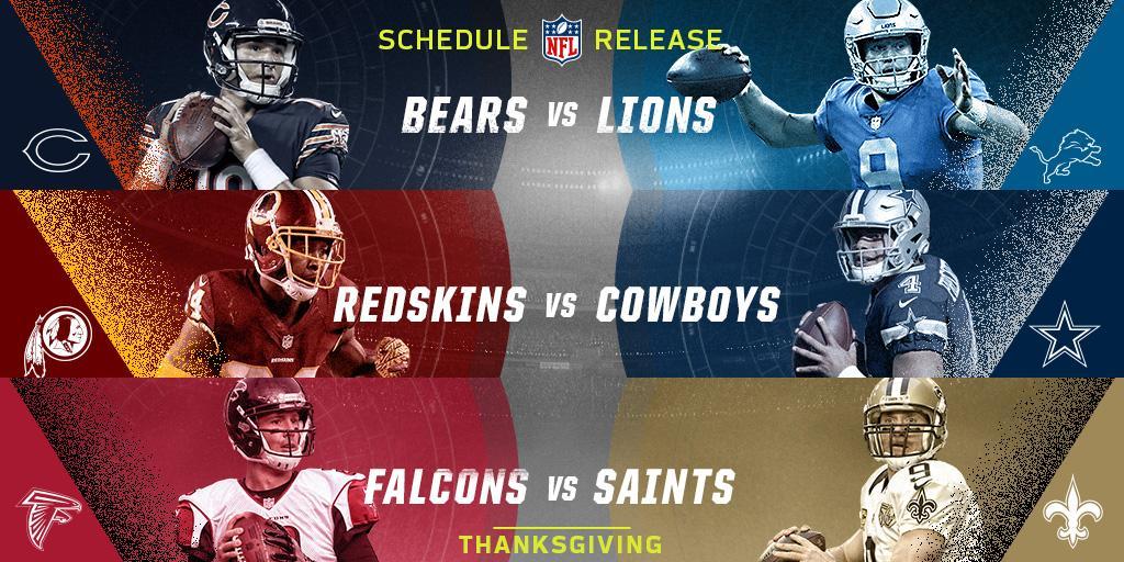 ������  2018 NFL Thanksgiving Schedule: https://t.co/CSXQ8zPyNK https://t.co/COn1KuDLwM