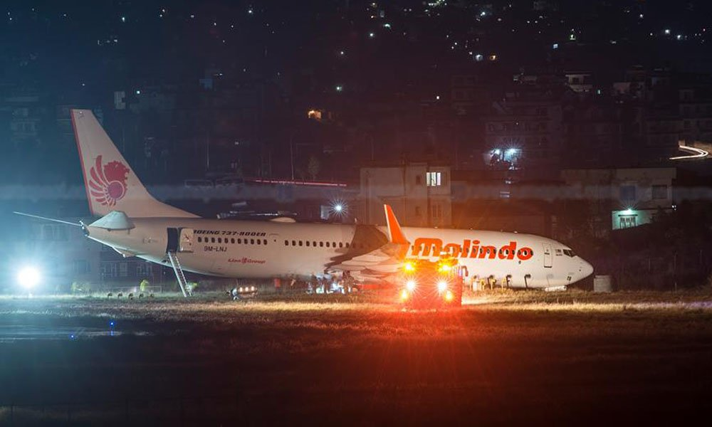 Malindo Air Aircraft experiences runway excursion at TIA TIA survives from yet another mishap, Around 130 people who were onboard the plane, are all safe. The aircraft is currently under repair in the runway and the airport schedule are halted for next 3 hours.  #Nepal <br>http://pic.twitter.com/g5oZuIWTdF