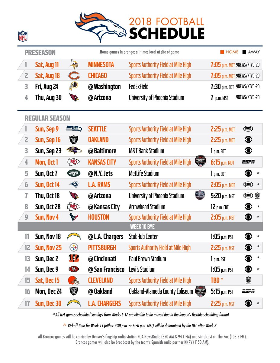 image regarding Denver Broncos Schedule Printable identified as Denver Broncos upon Twitter: \