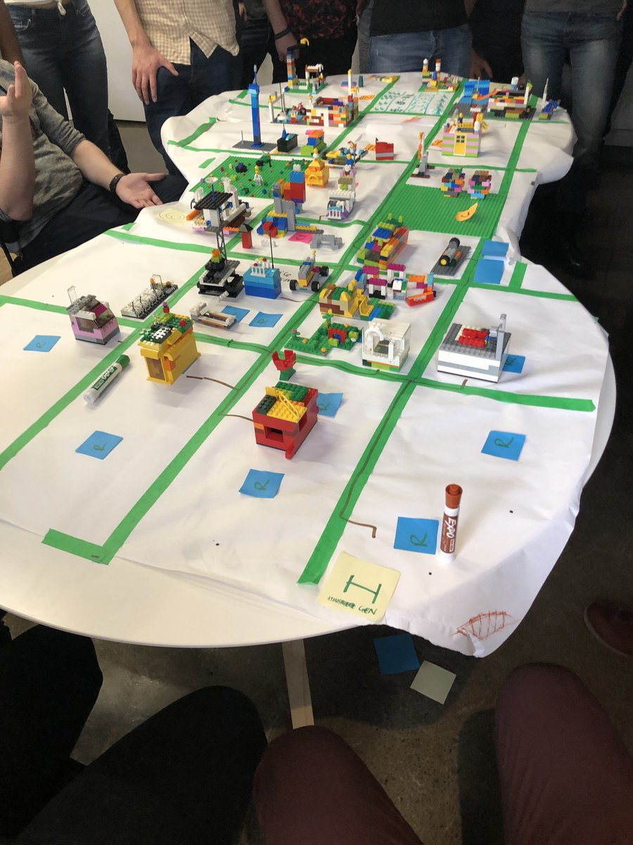 Today at the office : Learning Scrum best practices while building a city with Legos. Not bad! @agilep