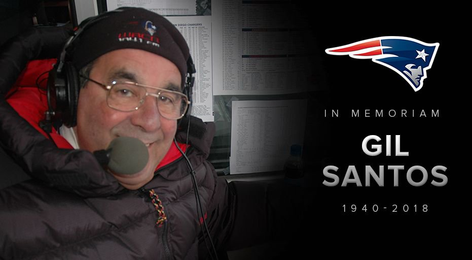 """A legendary loss.  We're saddened to learn of the passing of the """"Voice of the Patriots,"""" Gil Santos. https://t.co/blAIm5UMIg"""