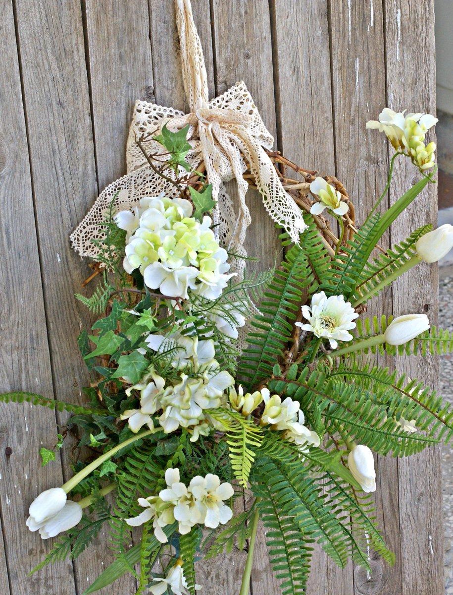 view of my #handmade #spring #easter #flower #floral #wreath made of #grapevine, #greenery, #flowers and #doily bow #etsy #etsyshop #etsyseller #etsyfinds #etsymntt #handmadehour #homedecor #shabbychic #doorwreath #wreaths #tulip #hydrangea  http:// etsy.me/2F1yKtx  &nbsp;  <br>http://pic.twitter.com/h38bCjAXwo