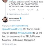 @realDonaldTrump Of course Trump said he has nothing to do w Russia.. Interesting he was so worried about the hooker stuff and harassed Comey multiple times. Something makes me think that Trump has more to worry about than the 2013 Moscow trip. I'm sure the Kremlin has enough from 87 and esp 96