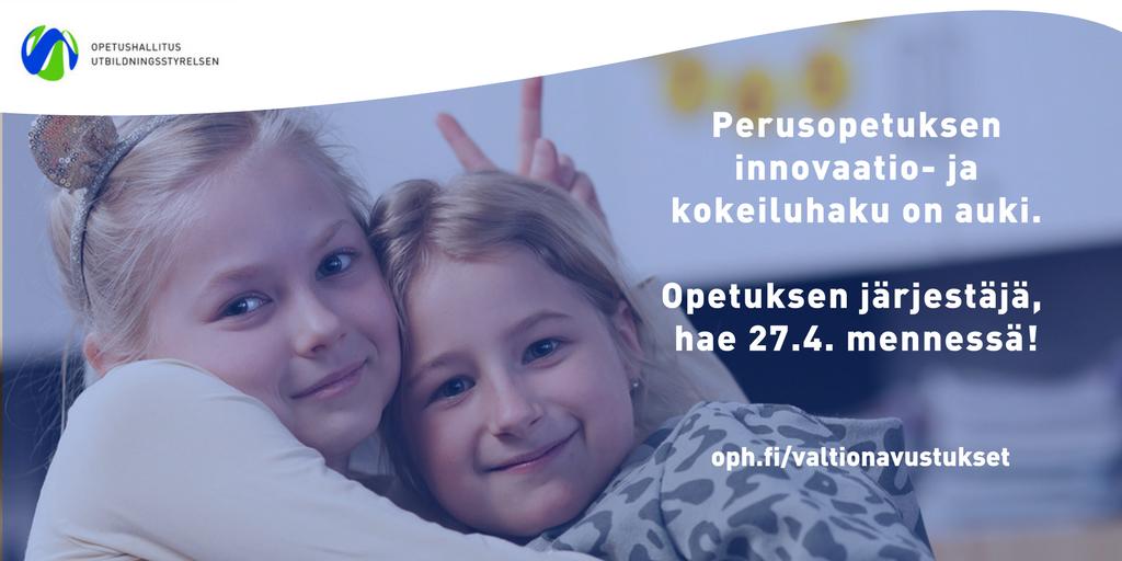 Vielä kerkeää hakea! http://oph.fi/rahoitus/valtionavustukset…