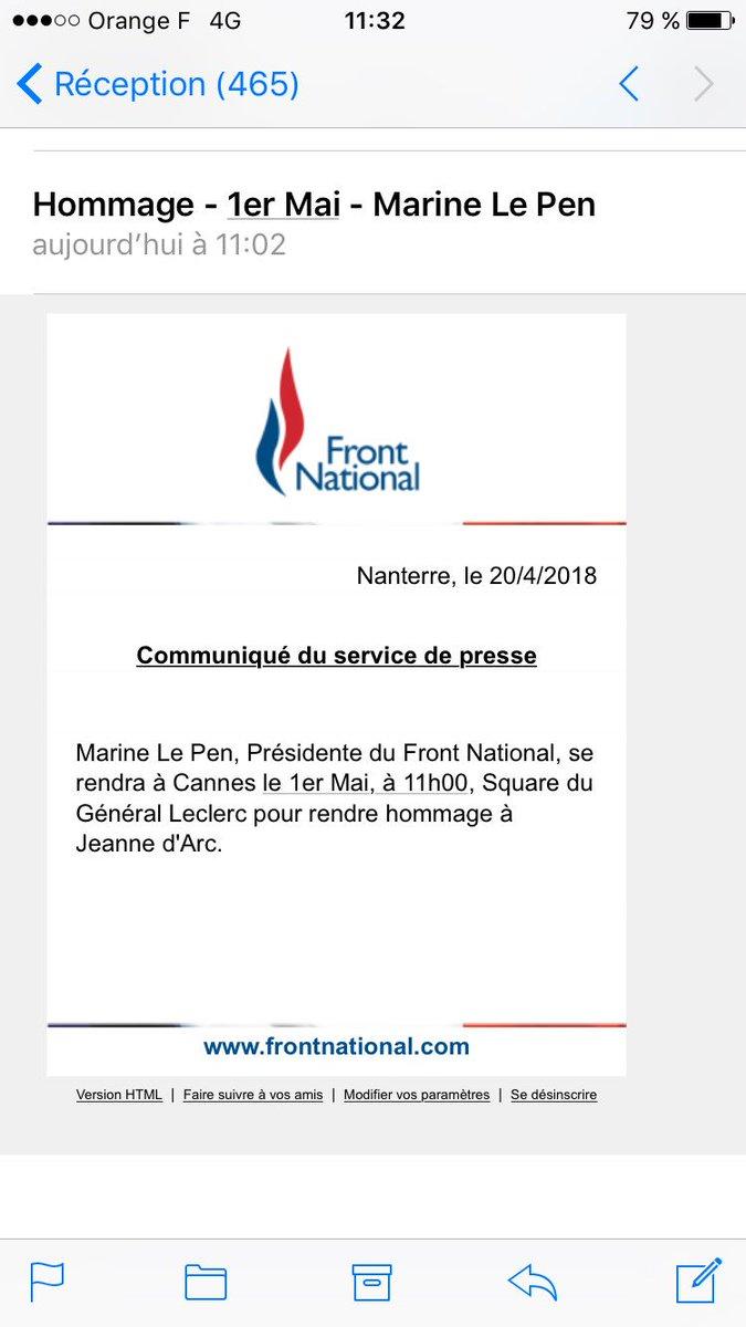 Pour son premier 1er mai en dehors de Paris, à Nice, Marine le Pen n'oublie pas Jeanne d'Arc.