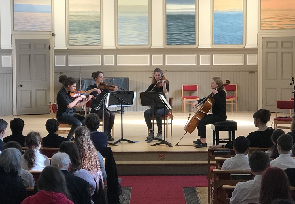 And to our second quartet, this time pupils from @tcoems1 playing #Borodin St Qt No.2 for @FitzwilliamQt at this year's @stmarys_music Nigel Murray Masterclass.<br>http://pic.twitter.com/rntUrPZOhp