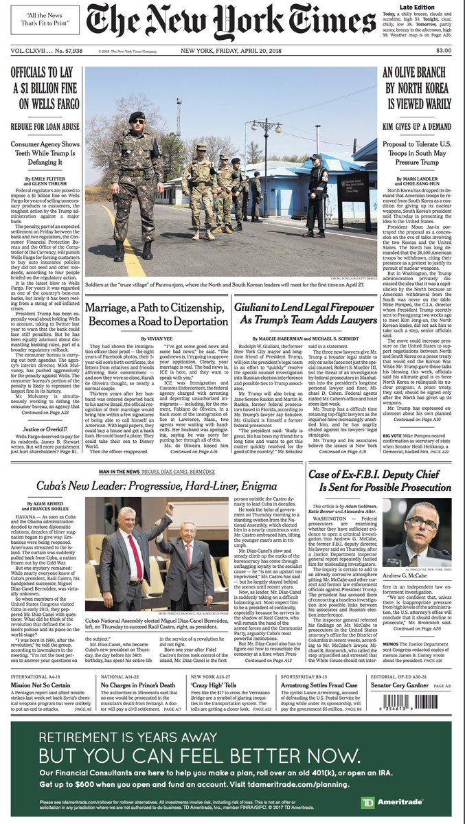 🇺🇸 Une amende d'un milliard de dollars pour la banque Wells Fargo (Une NY Times) + photo frontière entre  Corée du Nord et Corée du Sud
