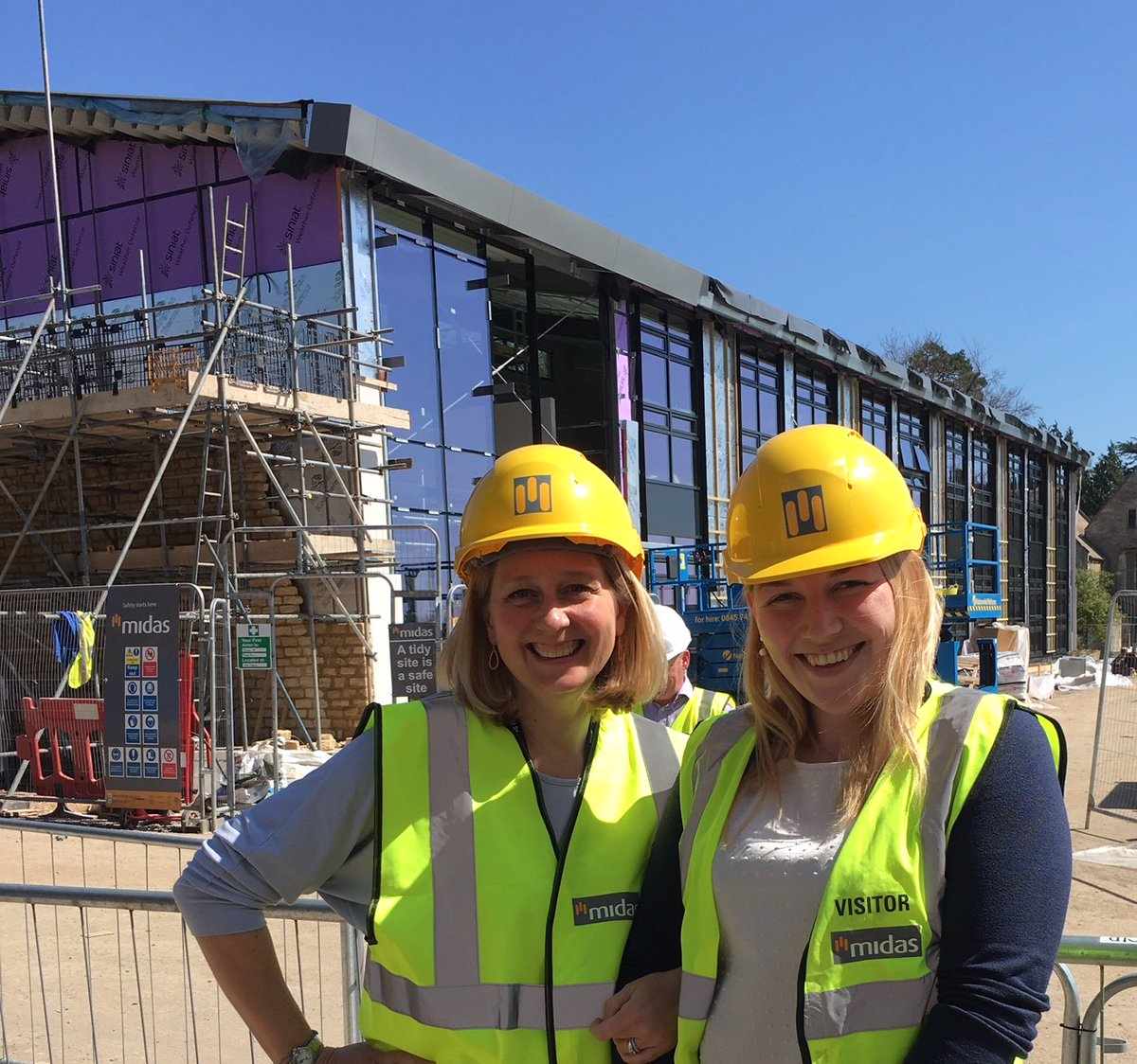 Yesim, Growth Hub Manager &amp; Verity, Centre &amp; Events Manager @Farm491 enjoying a first internal walk around the new Growth Hub Building. Its very big and very shiny! #agritech #innovation #growth @GFirstLEP @RoyalAgUni #Cirencester #farming #business #startup <br>http://pic.twitter.com/tCUYslittV