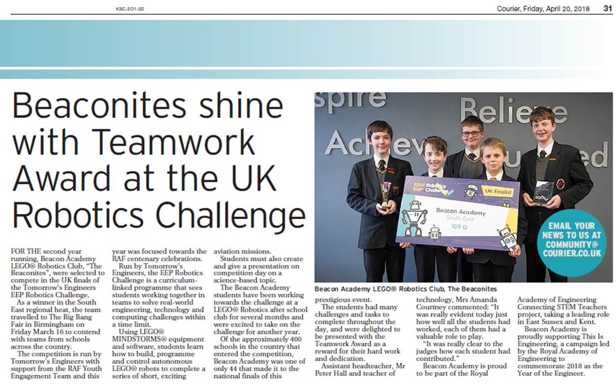 Such a great @KSCourier article celebrating the hard work of the awesome #Beaconites team made up of @Beacon_Academy students taking part in @Tomorrows_Eng #Lego Robotics Comp @ESAmalfi @raisingrobots @rafyouthengage #TERobotics #STEM #proudteacher<br>http://pic.twitter.com/Mc84XMUMs1
