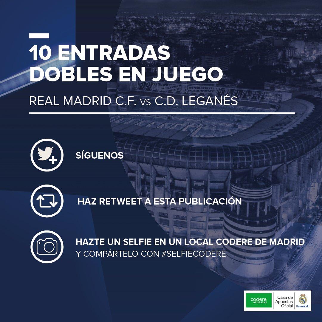 ¿Quieres vivir un PARTIDAZO en directo desde el Estadio Santiago Bernabéu?   ➡️ Follow @CodereApuestas + RT ➡️ Lánzate un 🤳 dentro de cualquier local de Madrid y súbelo a Twitter con #SelfieCodere ➡️ 10 🎟️ DOBLES para el Real Madrid C.F. 🆚 Leganés para los 10 primeros