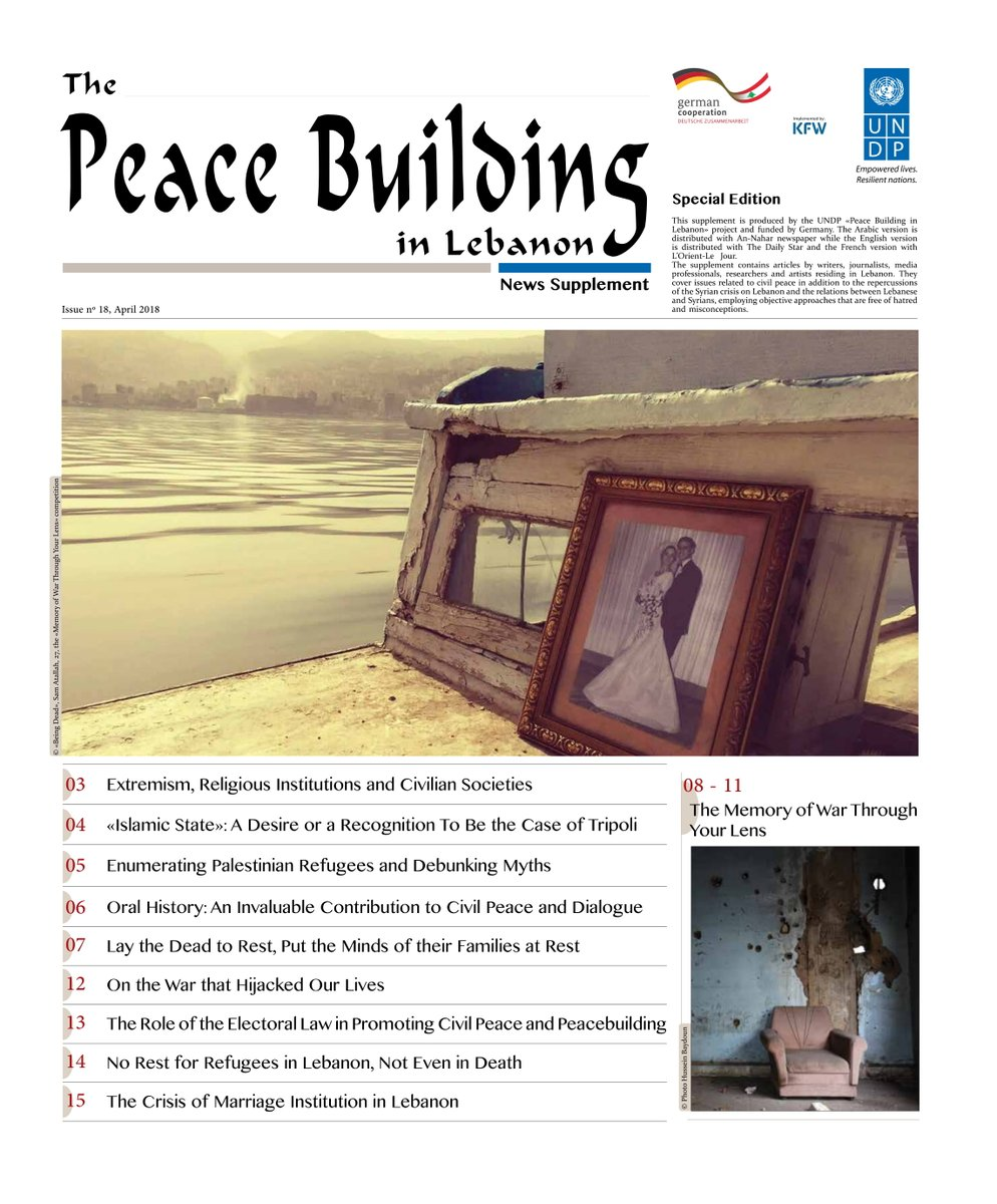 #UNDP &quot;#PeaceBuildinginLebanon&quot; news supplement is out today! It is published in Arabic with @Annahar, in French with @LOrientLeJour &amp; in English with @DailyStarLeb newspapers, with the generous funds of @GermanEmbBeirut. You can also read it at:  http://www. lb.undp.org/content/lebano n/en/home/library/crisis_prevention_and_recovery/the-peace-building-in-leb.html &nbsp; … <br>http://pic.twitter.com/XNbRANQmtR