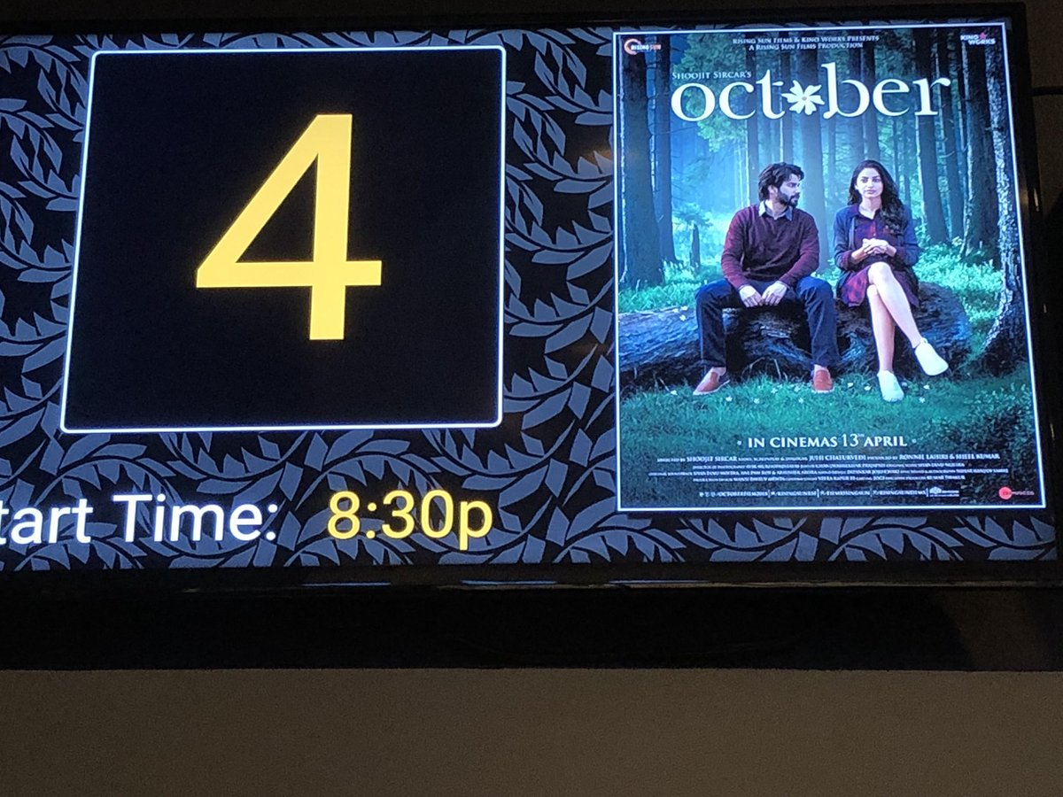 Just saw @OctoberFilm2018 by @ShoojitSircar which was an amazing emotional journey of #love. @BanitaSandhu delivers a touching performance and steals the show. @Varun_dvn is great as always. #feeloctober #shuili #seasons #cinema #risingsun<br>http://pic.twitter.com/FLmOd4cTK3