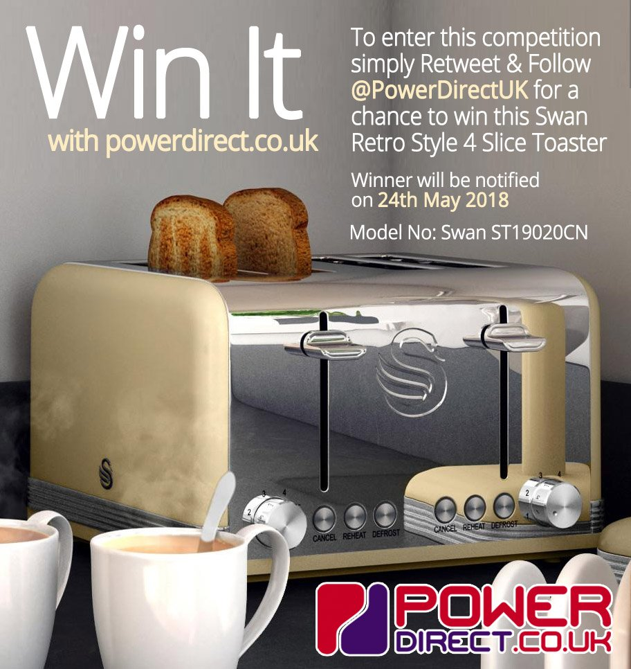 #FreebieFriday! Enter our #New #Free #Competition #Giveaway for a Chance to #Win a Swan Retro Style 4 Slice Toaster.  Simply #RT &amp; #Follow @PowerDirectUK<br>http://pic.twitter.com/gEJWBM6hgF