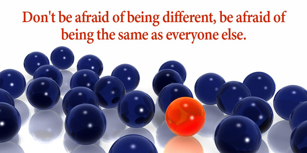 Don&#39;t be afraid of being different, be afraid of being the same as everyone else. #quote #FridayFeeling<br>http://pic.twitter.com/oIWm27hgWq
