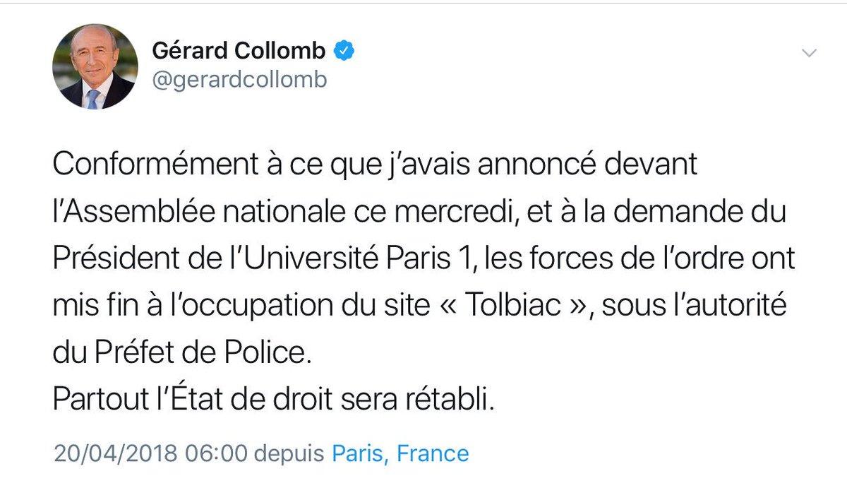 L'ordre public, pas l'État de droit. L'État de droit n'est pas aboli ni même menacé par cent étudiants bloquant illégalement un site, et il sera rétabli quand la France respectera les décisions de la CEDH interdisant les enfants en centre de rétention.