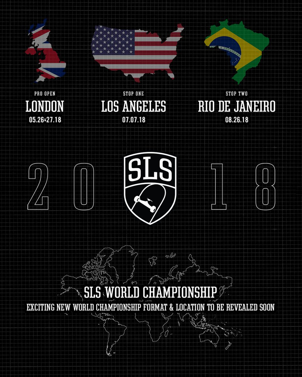 2018 season is on! Tickets go on sale for London next Tuesday, April 24th. 🎟   2018 SLS World Tour: SLS Pro Open • May 26 & 27 • London Stop One • July 7 • Los Angeles Stop Two • August 26 • Rio De Janeiro   All new World Championship announced soon! 🏆    🏟#SLSWorldTour