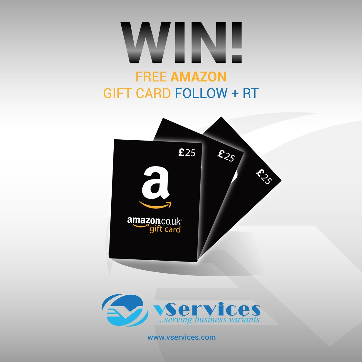 #FreebieFriday #giveaway #win a £25 #AmazonGiveaway #gift card #like + #retweet #follow &amp; Visit our #vServices website for IT Services query End 12am 04/22 #prize #Competition #FridayFeeling #ff For Free Consultation For IT Services  https://www. vservices.com/free-consultat ion &nbsp; … <br>http://pic.twitter.com/sLaeKc4QmQ