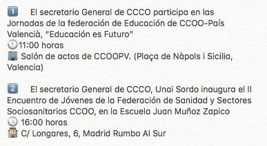 Agenda de @UnaiSordo para el viernes 20...