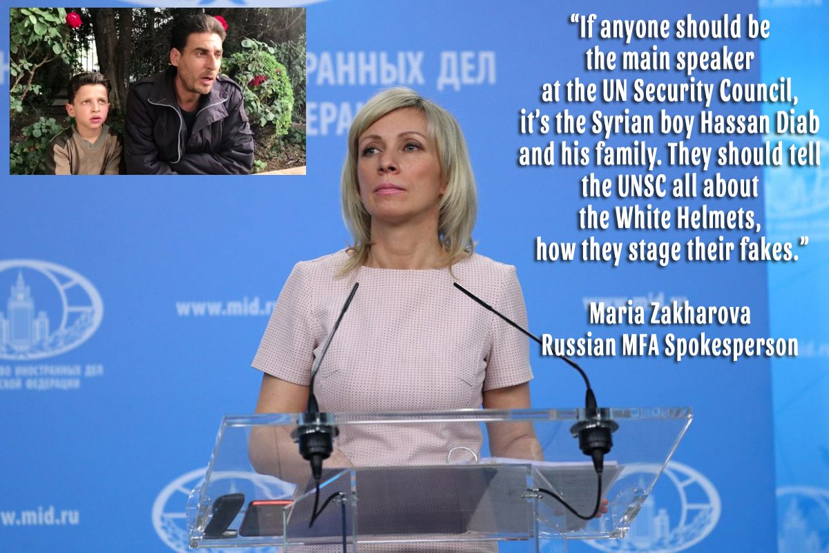 Russian MFA Spokesperson #Zakharova: If anyone should be the main speaker at the UN Security Council its the 11yo Syrian boy Hassan Diab and his family. They should tell the UNSC all about the #WhiteHelmets, how they stage their fakes. I wonder if US would grant them visas...
