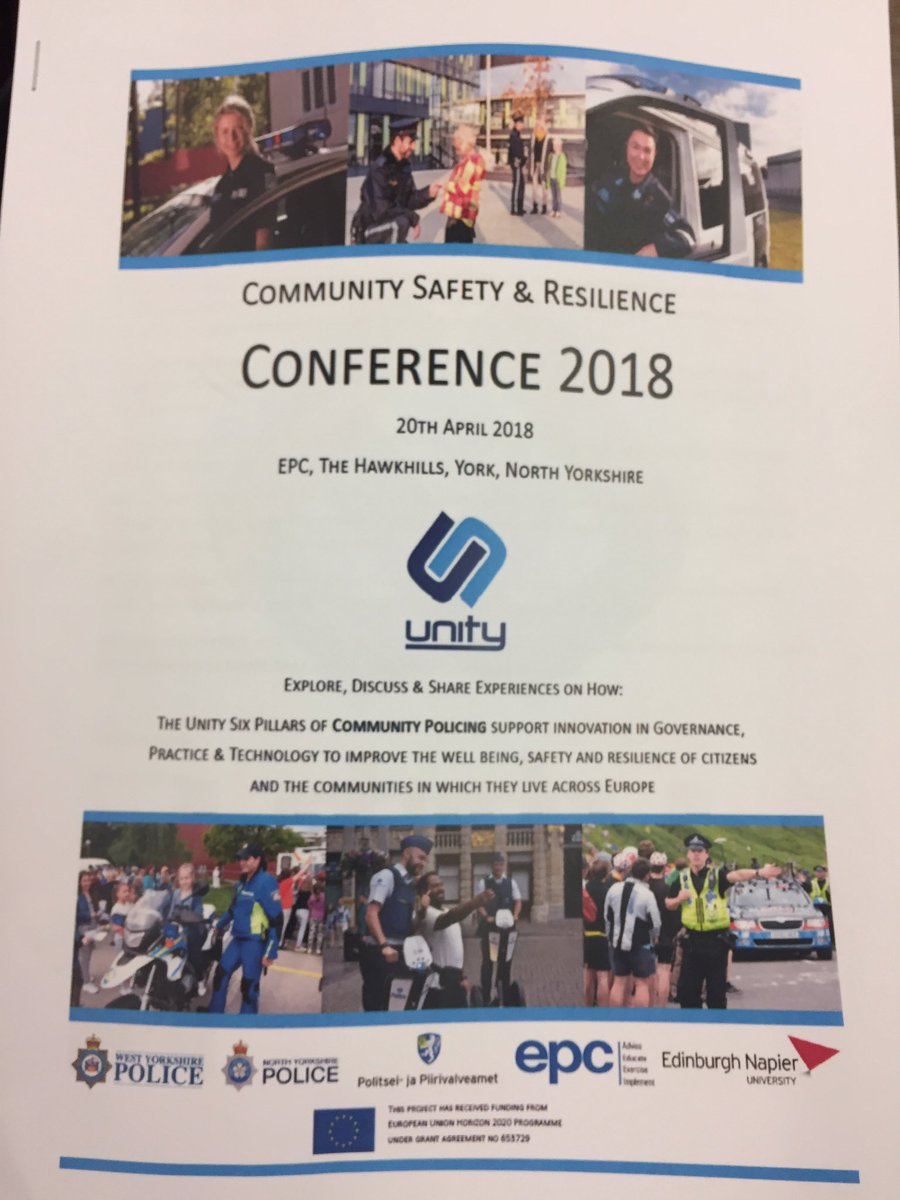Looking fwd to presenting @unityeuproject #trust #confidence #communitypolicing #diversity w @y_hail @drmeganoneill @EdinburghNapier #H2020 <br>http://pic.twitter.com/TTOkKNqpsS
