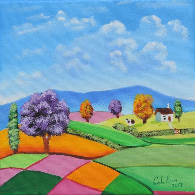 Rolling hills folk #art #painting   https://www. artfinder.com/product/rollin g-hills-folk-art-8-x-8/#/ &nbsp; …  #artfinder #art #paintings<br>http://pic.twitter.com/13XioRmNSw
