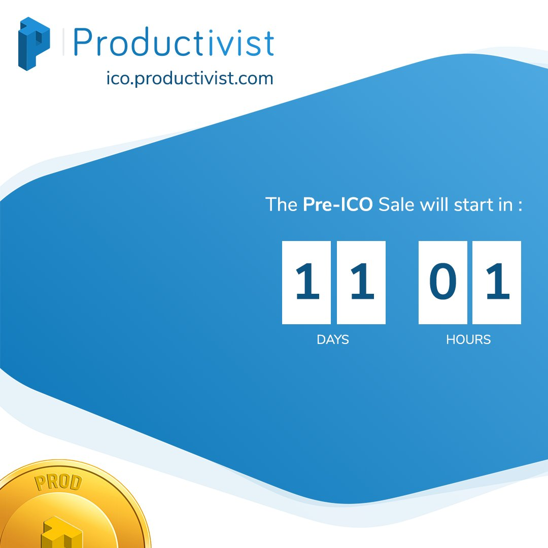 Productivist&#39;s PRE-ICO WILL BE LAUNCHED IN 11 DAYS !  Be ready for the manufacturing revolution 4.0 !   #preico #InitialCoinOffering #token #tokens #tokensale #tokensales #TokenizeTheWorld #crypto #cryptocurrency #cryptocurrencynews<br>http://pic.twitter.com/Hn53fA5f8Q