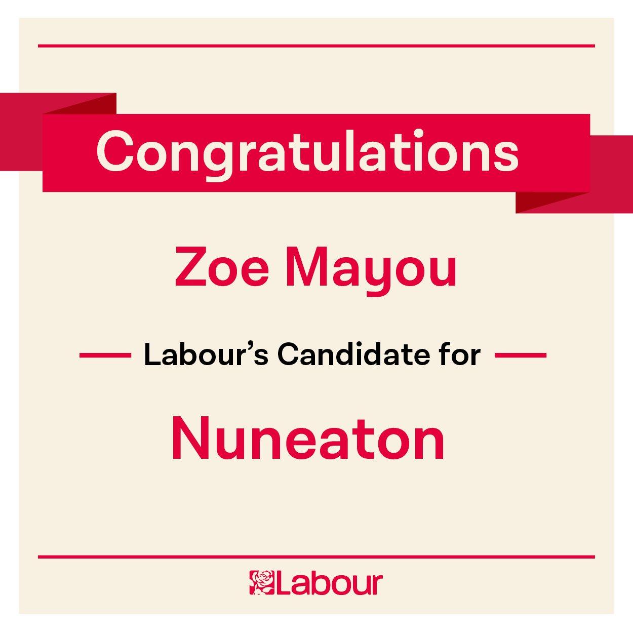 Congratulations Zoe Mayou (@zoe_mayou), Labour's candidate for Nuneaton! https://t.co/erk8Jmif1K