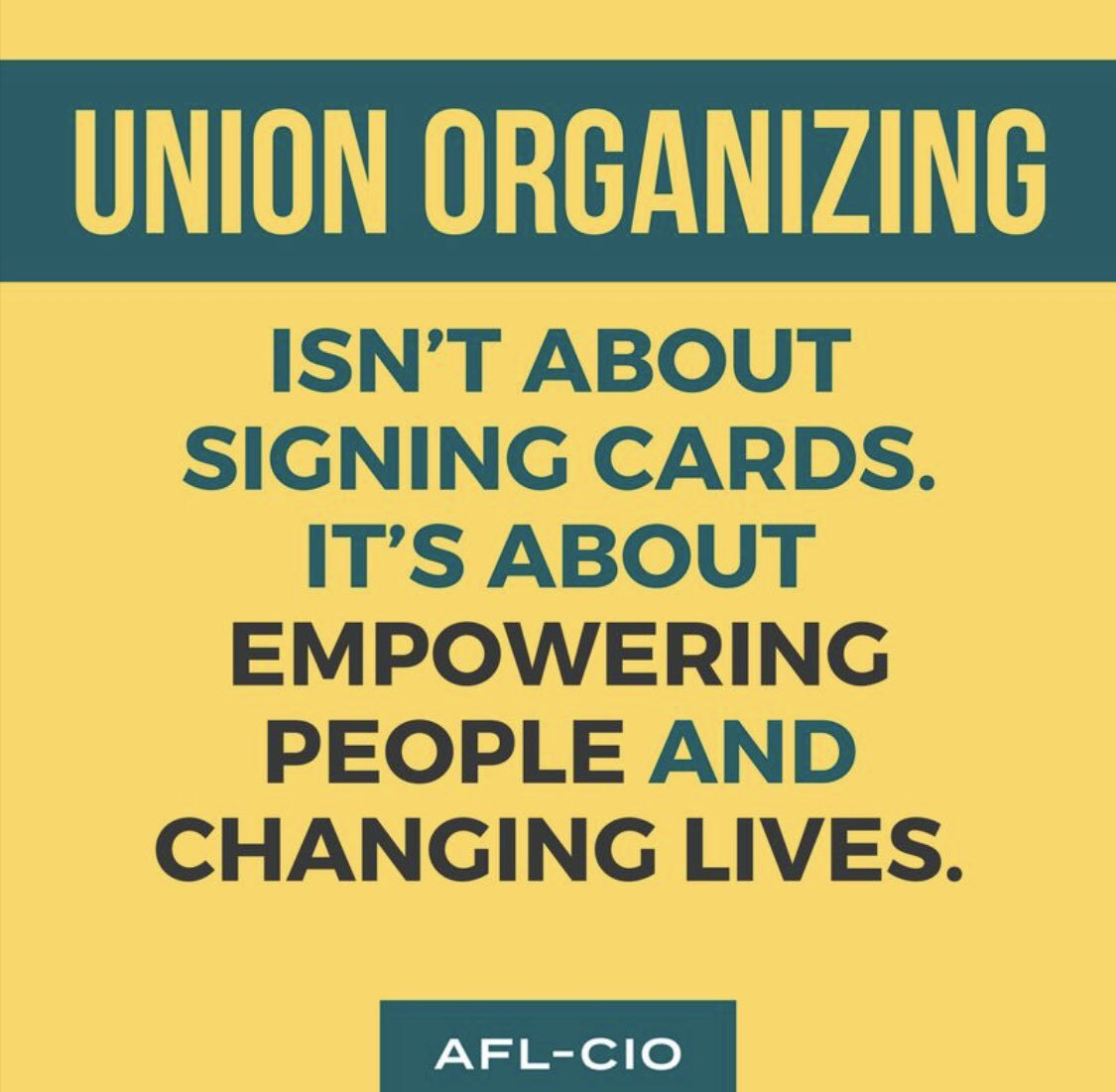 Union organizing isn't about signing cards. It's about empowering people and changing lives. #FactFriday #UnionStrong .@AFLCIO<br>http://pic.twitter.com/vw2CGh90ap
