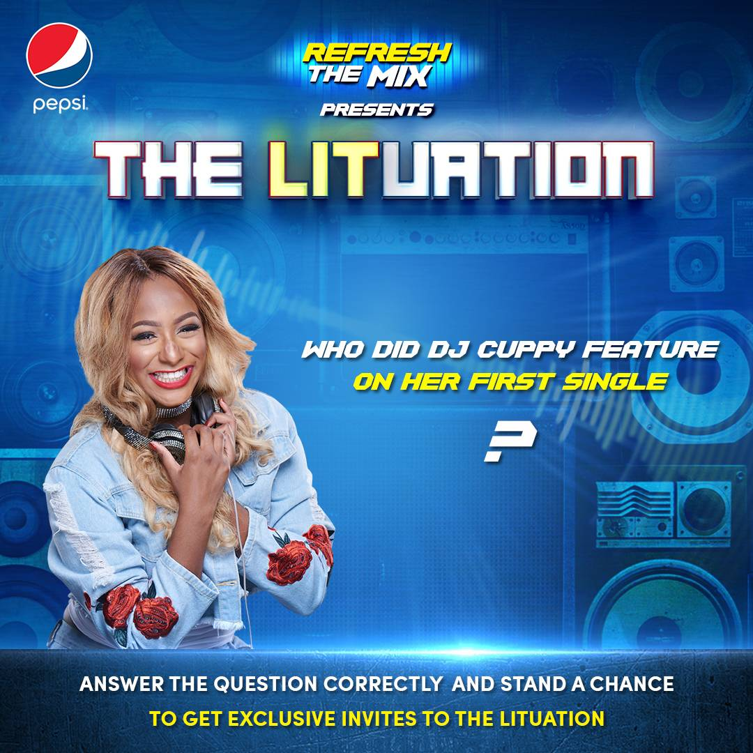Who did @cuppymusic feature on her first official single? Answer correctly and you could be among the 25 fans that will get invites to party with @cuppymusic #PepsiLituation #RefreshTheMix <br>http://pic.twitter.com/XJGnFijax0