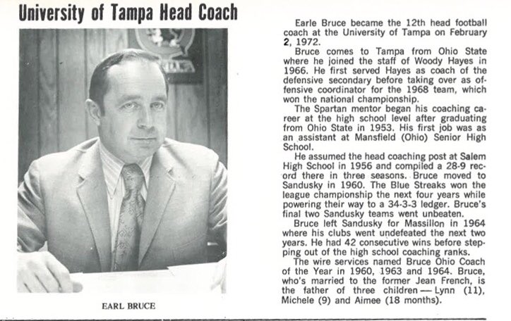 """A fond farewell to Earle Bruce, Tangerine Bowl champion in his only year at the University of Tampa in 1972. The Spartans, led by future """"Mr. Wonderful"""" Paul Orndorff, topped Don James' Kent State team that featured Nick Saban, Gary Pinkel & Jack Lambert. bigtime.games/2vsEayk"""