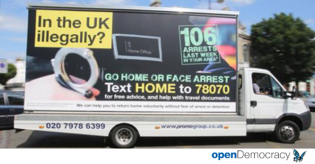 These vans were sent out on Theresa May's watch as Home Sec in 2013. You can not foster, a racist  'hostile environment' without bloody obvious consequences. Do not lecture @UKLabour on racism, ever again. #WindrushScandal