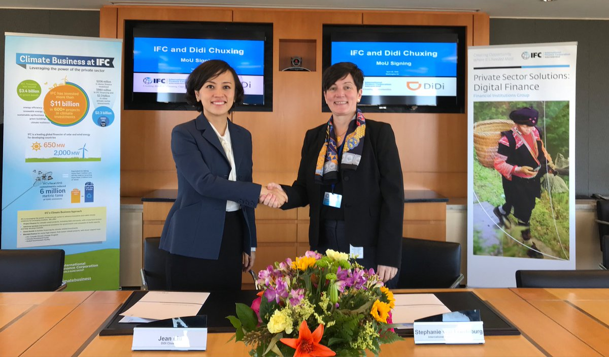 Really happy to be partnering with Didi Chuxing on financial inclusion and the green agenda. Even better to be doing it with such an inspiring female leader. #FinancialInclusion #wbgmeetings @ifc_org<br>http://pic.twitter.com/wIzHwBcopU