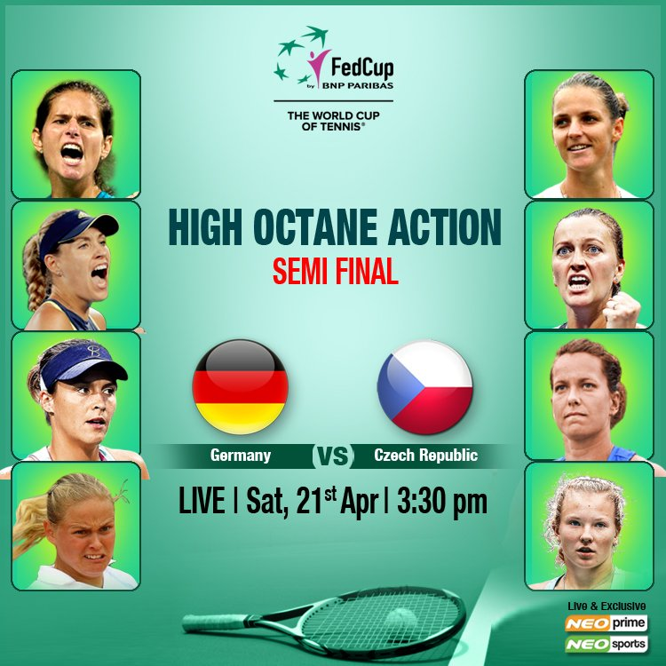 The two nations, who last met in the 2014 @FedCup, have met on eight previous occasions with #CzechRepublic winning seven of those contests. Will Czech Republic continue their #winning streak against #Germany? #LIVE only on #NeoSports from 21st April @ 3.30 PM onward.