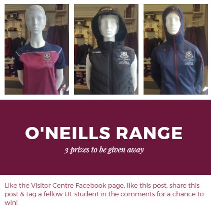 It&#39;s competition time over on our Facebook page to celebrate the launch of the new @ONeills1918 range in store! Check it out at  https:// tinyurl.com/ybgmgslh  &nbsp;   #Competition #launch #merchandise #StudyAtUL <br>http://pic.twitter.com/v8Vd4xnN5R
