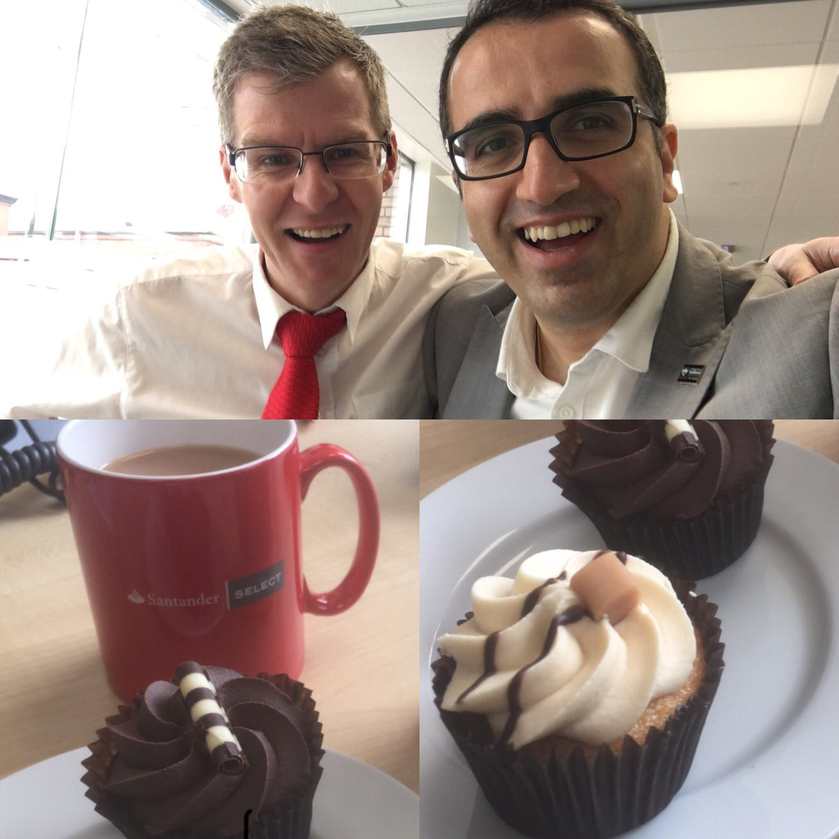 This is how we do #business meeting with our amazing #bank #manager @santanderuk @dunc1977 ! Tea and delicious cake with a great friend <br>http://pic.twitter.com/wk5m2TvUAy
