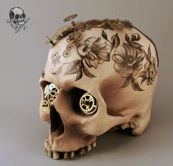 #steampunk https://t.co/M3wJpl3i04 Handmade Skull Steampunk style Aerography Human Replica Interior Skull Tattoo by AirSkullArt