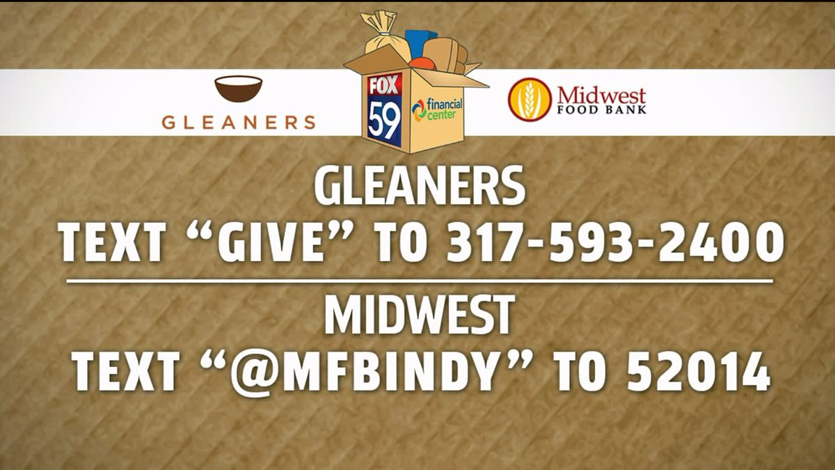 In addition to calling, you can also text donations to @GleanersFBIndy &amp; @MFBIndy! Here&#39;s how to do it:  http:// via.fox59.com/H67xo  &nbsp;   #PackThePantries #FOX59Morning <br>http://pic.twitter.com/Ak3QoS1kk4
