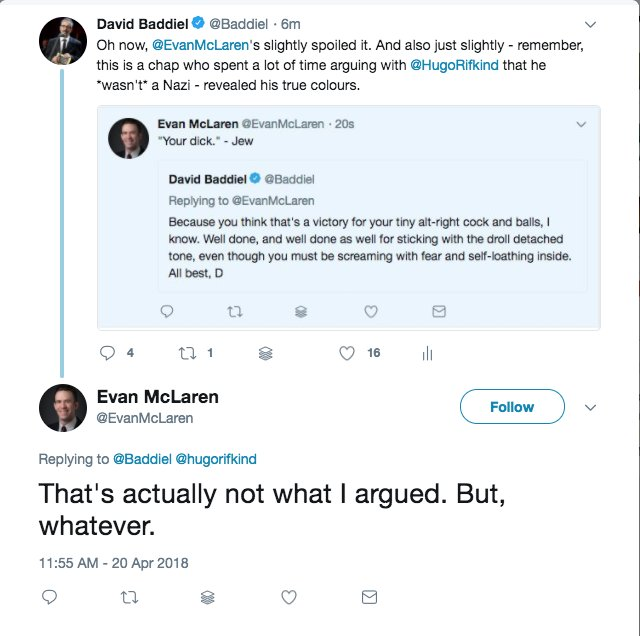 Evan now upset at the awful implication that he might have been arguing that he *wasn't* a Nazi.