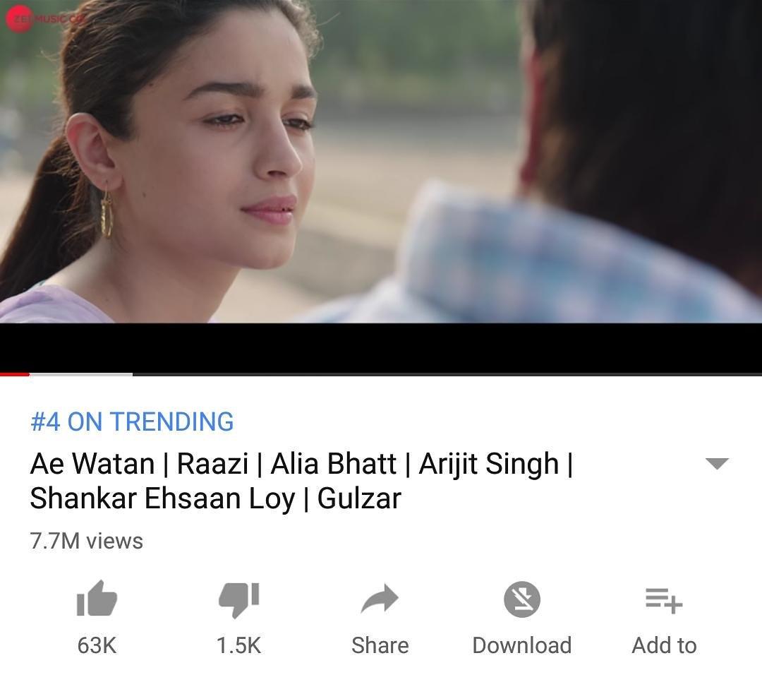 The love for #AeWatan is crystal clear! Trending at #4 on #Youtube with over 7 million views! #Raazi  http:// bit.ly/AeWatan_Raazi  &nbsp;     @karanjohar @apoorvamehta18 @aliaa08 @vickykaushal09 @meghnagulzar @JungleePictures @ZeeMusicCompany @ShankarEhsanLoy @RaaziHoon<br>http://pic.twitter.com/84ehT6mMfx