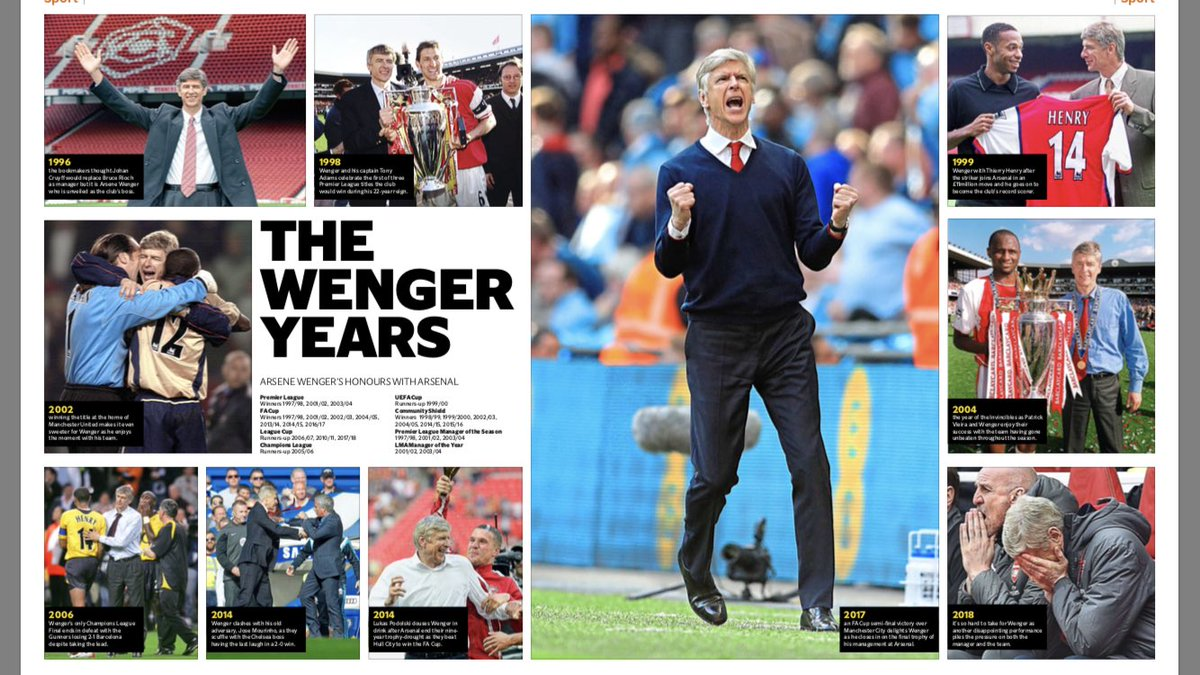 Six-page special in tonight's @EveningStandard on Wenger confirming he will leave Arsenal at the end of the season: