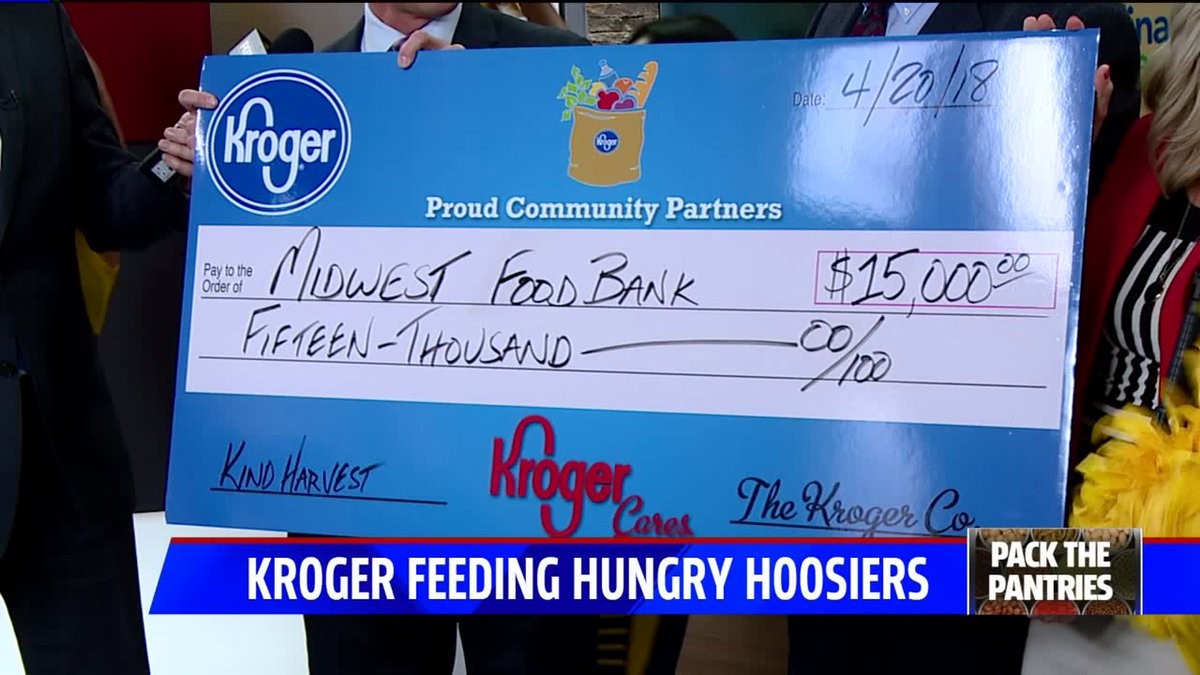 Huge thanks to @kroger for this donation! We&#39;re well on our way toward breaking last year&#39;s #PackThePantries record! #FOX59Morning  http:// via.fox59.com/H67xo  &nbsp;  <br>http://pic.twitter.com/nTUtpeo8nY