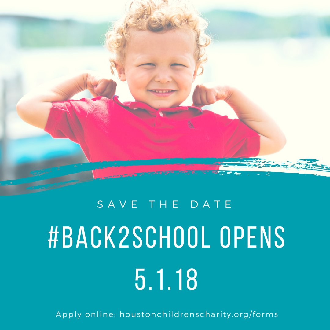 Save the date! In less than a month our #Back2School program opens! If you, or someone you know, are in need of school supplies, please apply online starting May 1st. Applications will be available on our website in both English and Espanol. #ourkidsareeverybodyskids<br>http://pic.twitter.com/tFjqu4kEcb