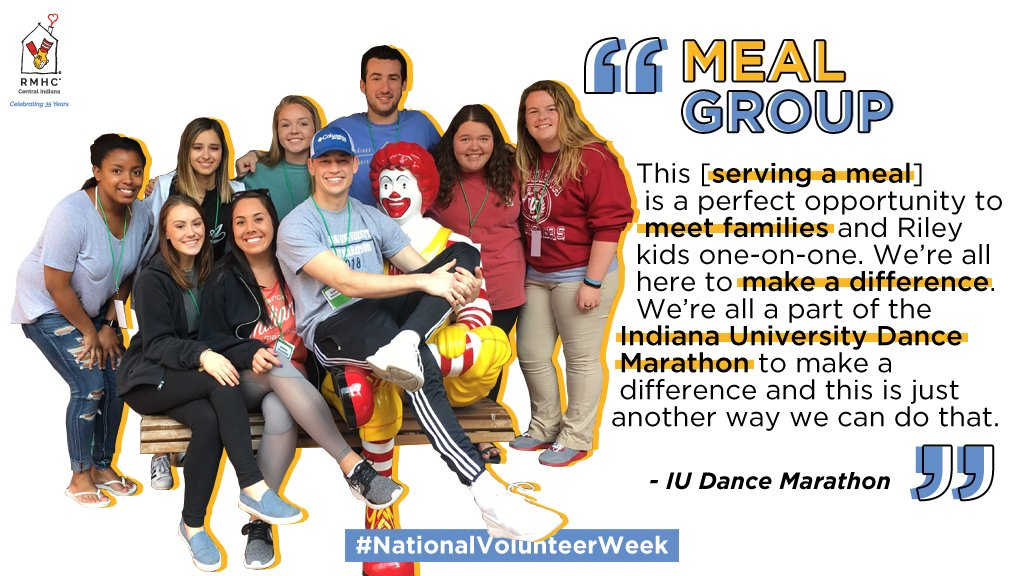 We rely on donations from our community in order to stock our pantries &amp; provide a nightly dinner to our families. Thanks to our community &amp; meal groups, like @IUDM, our families know they can always find that comfort here. Thank you! #KeepingFamiliesClose #NationalVolunteerWeek <br>http://pic.twitter.com/mZiyEOQR0y