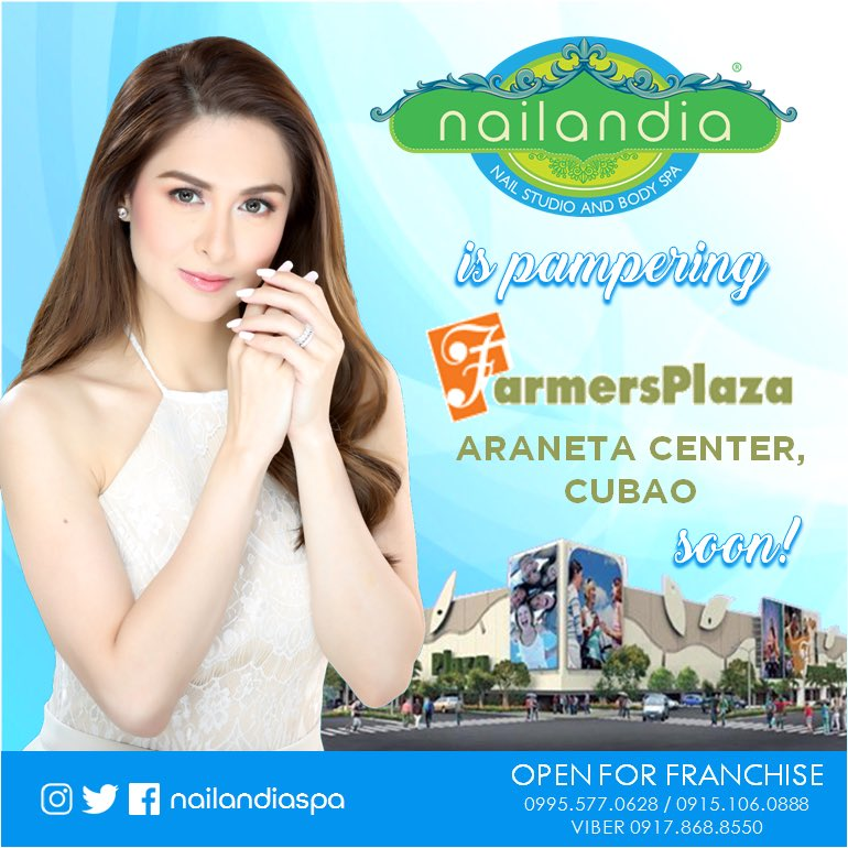 NAILANDIA is pampering Farmer's Plaza Araneta Center soon!  Open for #FRANCHISE #LowFranchiseFee 09151060888 09955770628 #MarianRivera #NAILANDIA #nailspafranchise #nailspa #nails #spa <br>http://pic.twitter.com/BXmYXJii68