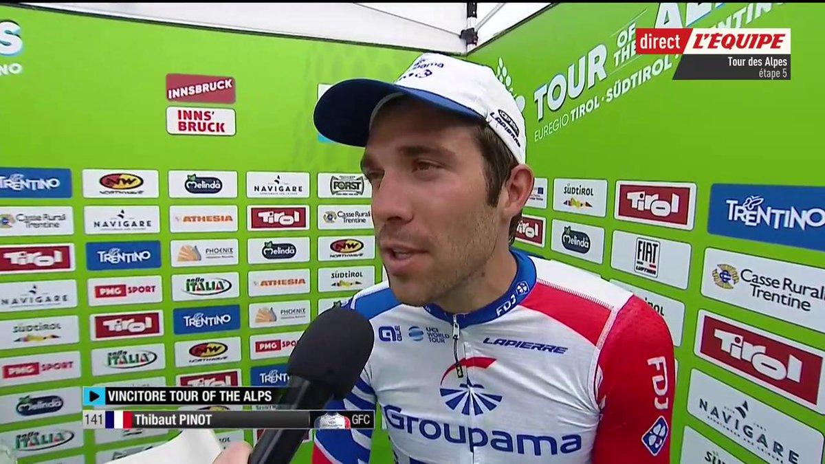 Cétait 5 jours de grosse bataille   🗯 Thibaut Pinot sur sa victoire du Tour des Alpes     #lequipeVELO