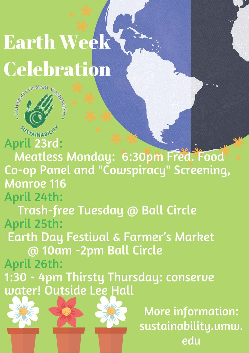 Check out the #EarthWeek events scheduled for next week!  #meatlessmonday #trashfreetuesday #ThirstyThursday<br>http://pic.twitter.com/zGYfCkXIav