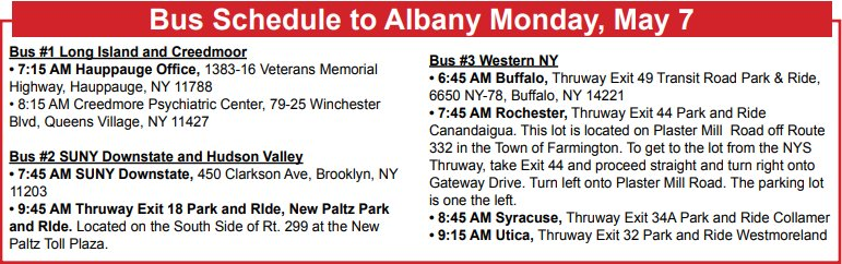 Your Voices Be Heard In Albany Pef Buses Will Make The Following Tentative Pick Ups Based On Rider Registration For Nurse Conference Day On May 7th